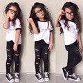 3 ШТ. короткие + брюки + туфли девочка комплект одежды лета девушки устанавливает Малышей Младенческой Девушка Письма топы + брюки Детская Одежда, Установленные