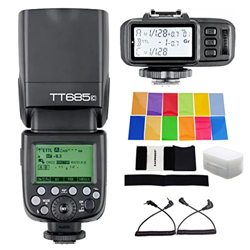 Godox TT685C Build in Receiver Speedlite Flash with HSS E-TTL for Canon 5D Mark III 6D 7D 60D 50D 650D + Godox X1T-C TransmitterGodox TT685C Build in Receiver Speedlite Flash with HSS E-TTL for Canon 5D Mark III 6D 7D 60D 50D 650D + Godox X1T-C Transmitter