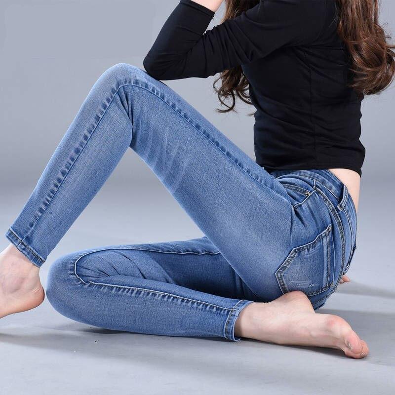 2019 New Fashion Skinny Denim Pencil Jeans Woman Elastic High Waist Trousers Black Blue Stretch Plus Size Washed Jeans Female 2