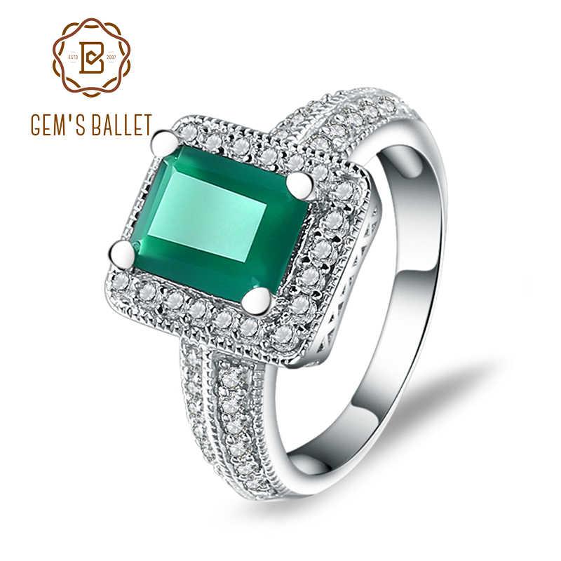 อัญมณีบัลเล่ต์ 2.05Ct ผู้หญิงคลาสสิก Emerald Cut ธรรมชาติสีเขียวอาเกตแหวนเงินแท้ 925 พลอย Vintage เครื่องประดับ Fine