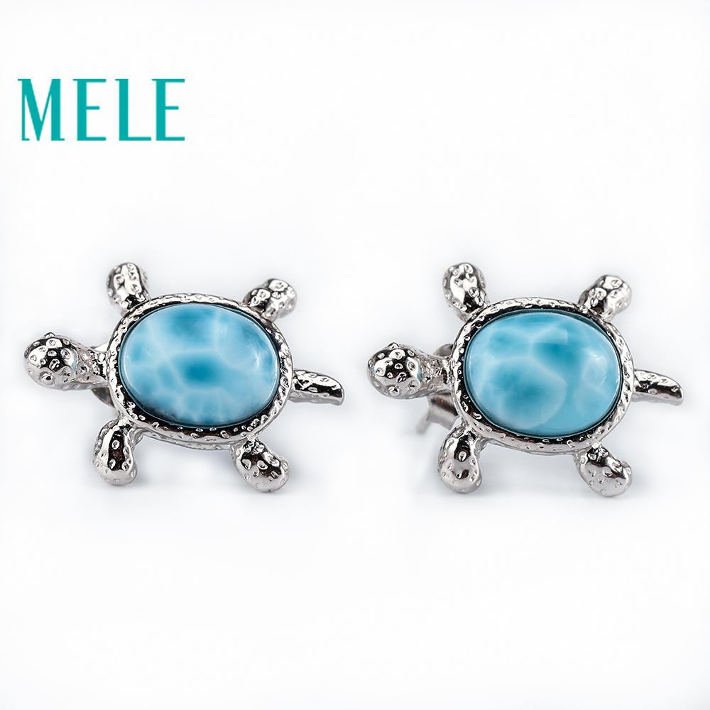 Tortoise shape cute natural larimar earrings deep blue with silver 925 classic style jewelry for women
