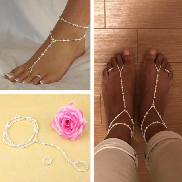 d9d259e76ca 40cm Anklet Chain Women Ankle Bracelet Beach Imitation Pearl Barefoot Sandal  Tornozeleira Femininas Women Girls Foot