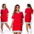 2017 Vintage Women Loose Dress Turn-Down Collar Character Half Sleeve Casual Vestidos Femininos Corduroy Red Retro Lady Dress