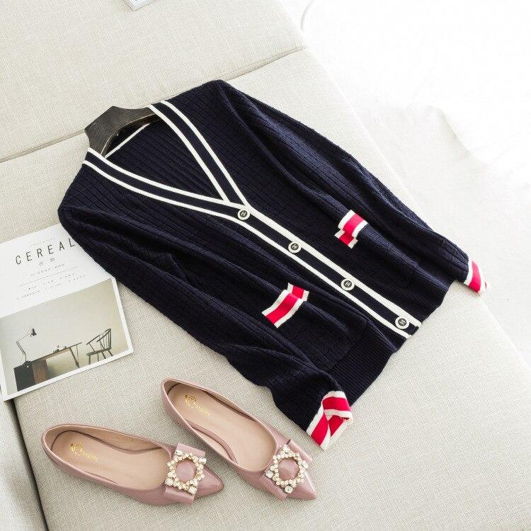 Herbst neue damen High end boutique kontrast rand V ausschnitt wolle mischung strickjacke-in Strickjacken aus Damenbekleidung bei  Gruppe 2