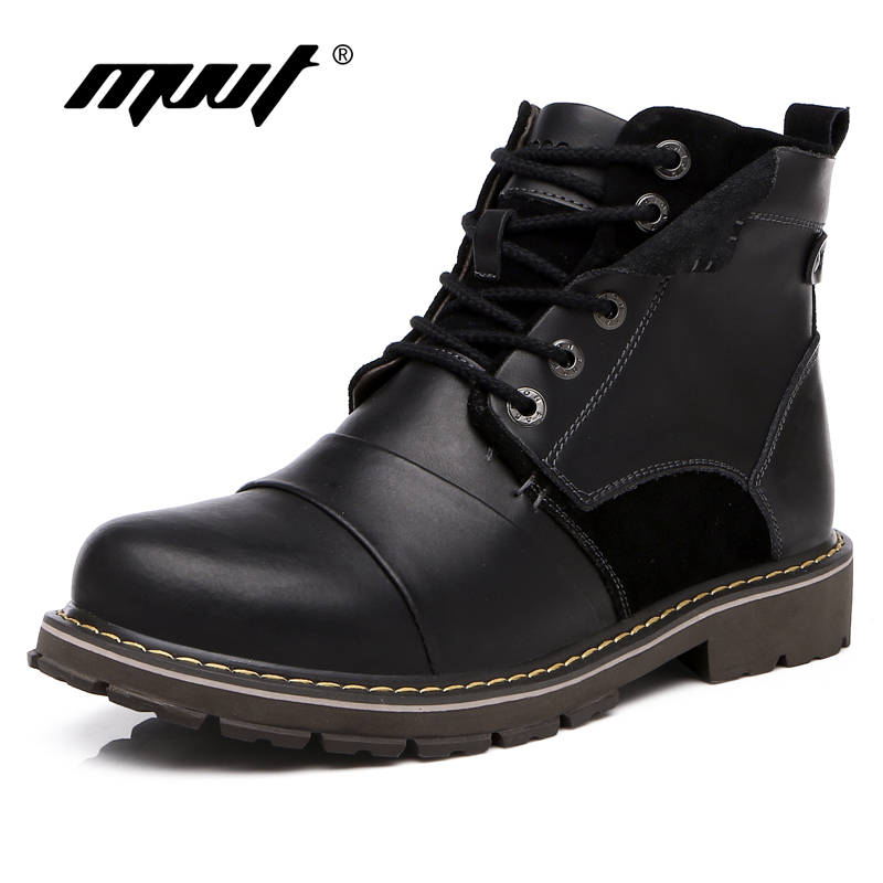 MVVT New Genuine Leather Boots Men Work Boots Mid Calf Men Winter Snow Boots Super Quality Tooling Shoes Russia Boots 2017 latest men s mid calf boots genuine leather buckle strap round toe men s leather shoes chakku motorcycle boots