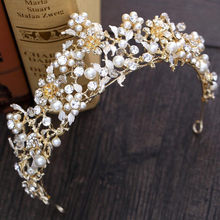 Vàng tuyệt đẹp Tóc Tiaras Wedding Crowns 2018 Pearls Rhinestone Baroque Headpieces Headbands Bridal Pageant Quinceañera Gown(China)