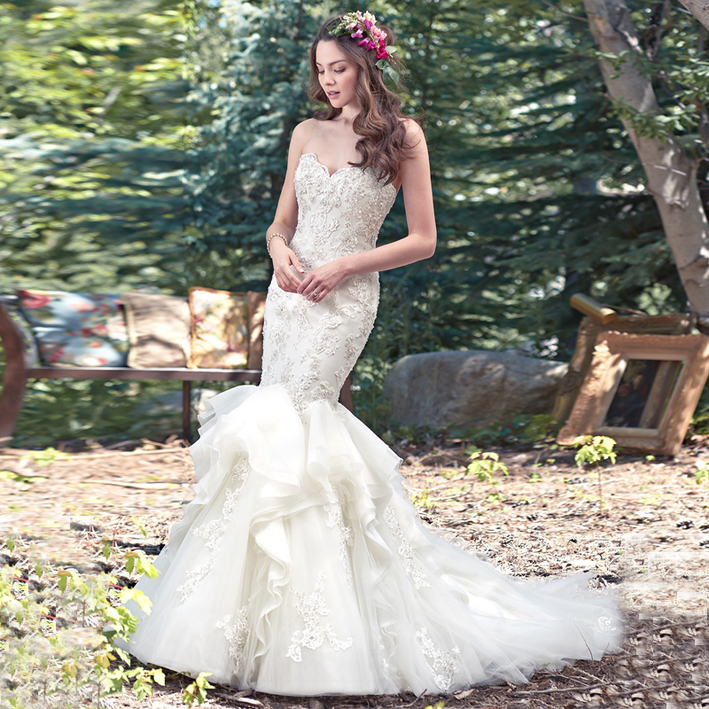 Beautiful Mermaid Wedding Gowns: Beautiful Mermaid Wedding Dresses With Lace Appliques