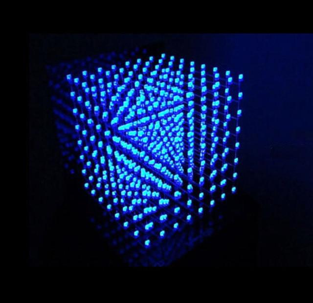 Free Shipping 3D Light Squared 8x8x8 LED Cube White LED Blue Ray Kit Christmas Gift 3D LED Display