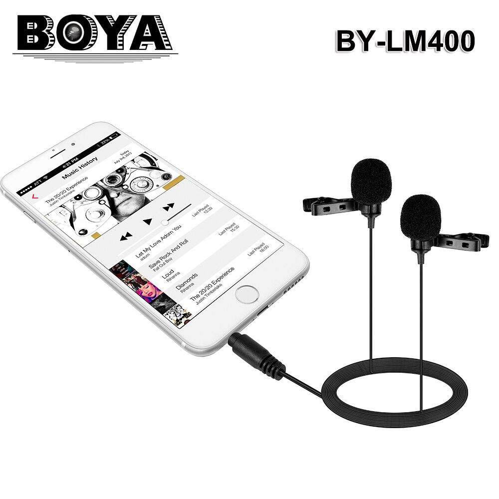 BOYA BY LM400 Dual Omnidirectional Lavalier Mic 3.5mm Connector ...
