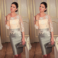 2017 Knee-length 3/4 Sleeves Gray Satin Lace Straight Bridal Mother Dress Women Wedding Mothers Formal Gowns Bridal Mother Gown