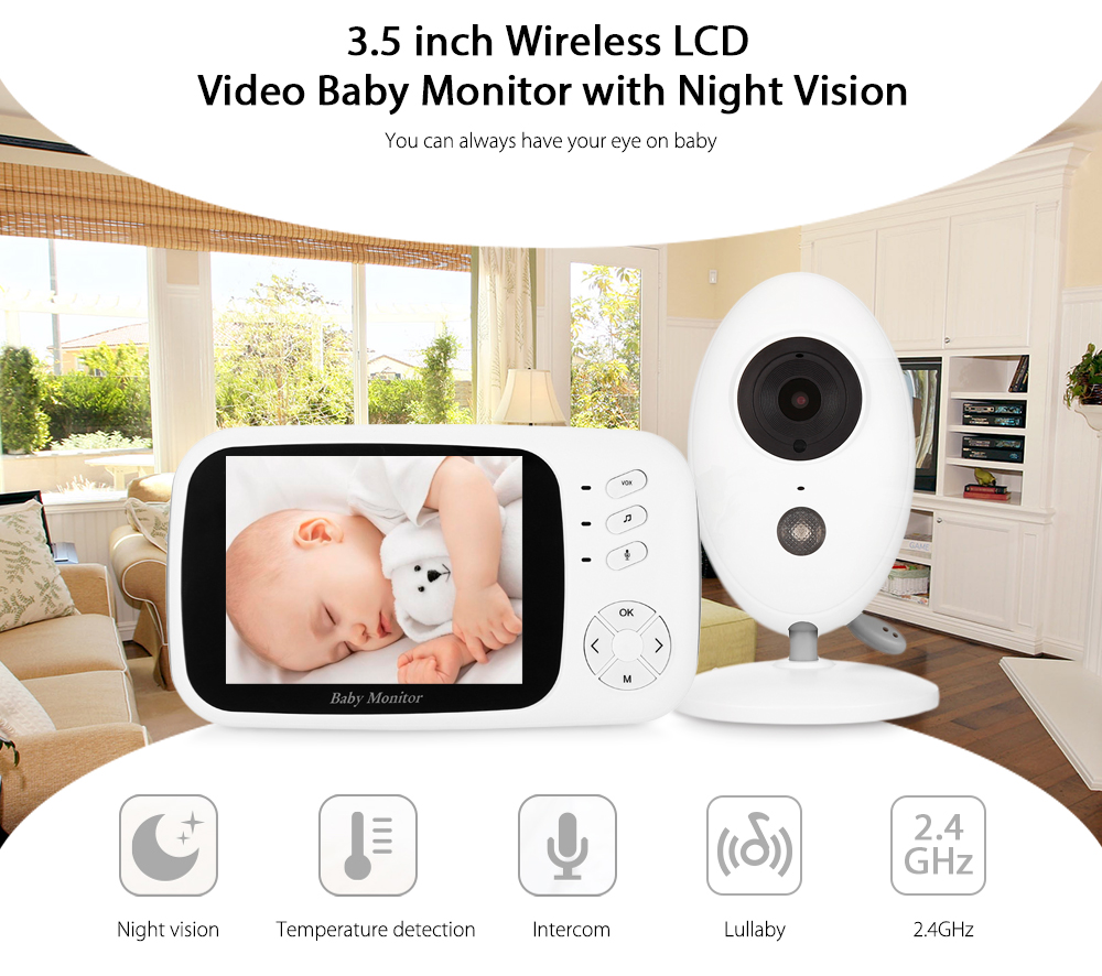 Wireless Digital Video Baby Monitor Night Vision Temperature Sensor 3.5 inch LCD