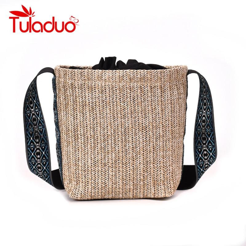 Tuladuo Brand Retro Straw Bags Women Bucket Bag Wide Strap Shoulder Bag Drawstring Handbag Handmade Kintted Travel Bags 2018