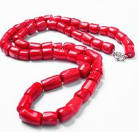30inch / 77cm Woman jewelry Natural Red Coral Bead Cylinder Long Necklace Handmade Jewelry gift