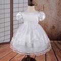 Бесплатная Доставка С Коротким рукавом Девушка Dress Baby Party Dress Белый Тюль Крещение Платья для Девочек феста младенческой dress Дешевые Оптовая