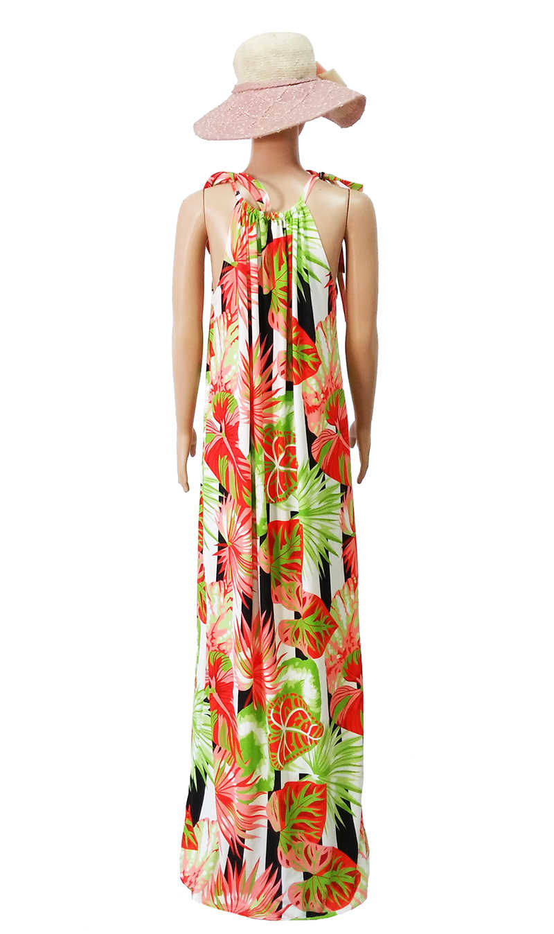 a577beda7da3e ... Summer Women Palm Leaves Dress Bandage Halter Bohemian Boho Dress  Floral Print Hawaii Beach Long Maxi ...