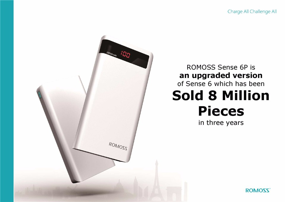 000mAh ROMOSS Sense 6P Power Bank Dual USB Portable External Battery With LED Display Fast Portable Charger For Phones Tablet 5