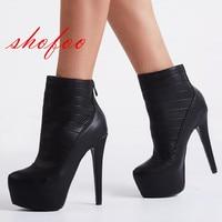 SHOFOO sapatos, Moda mail gratuito, senhoras botas, couro preto, 14.5 cm botas de salto alto. TAMANHO: 34-45