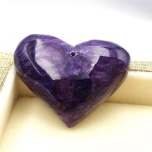 Genuine Natural Charoite Deep Purple Gemstone Heart Shape Pendant Women Men Gift Fashion 39x30x12mm Jewelry AAAA
