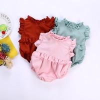 Newborn Girls Princess Outfits Infant Summer Ruffle Designed Solid Sleeveless Romper Bodysuit Children 1st Baby Birthday Gifts