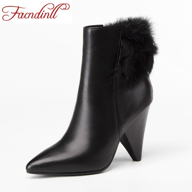 FACNDINLL fashion women ankle boots shoes new autumn winter genuine leather real fur high heels shoes woman zipper riding boots women genuine leather boots rabbit fur lace high heels ankle motorcycle boots women fringe shoes winter shoes