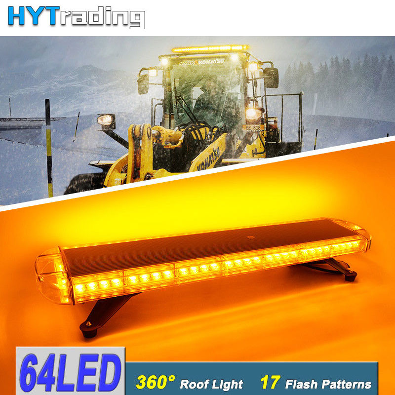 86cm 64W 64 LED Work Warning Lights Emergency Recovery Beacon Wrecker Flashing Strobe Light Bar Amber