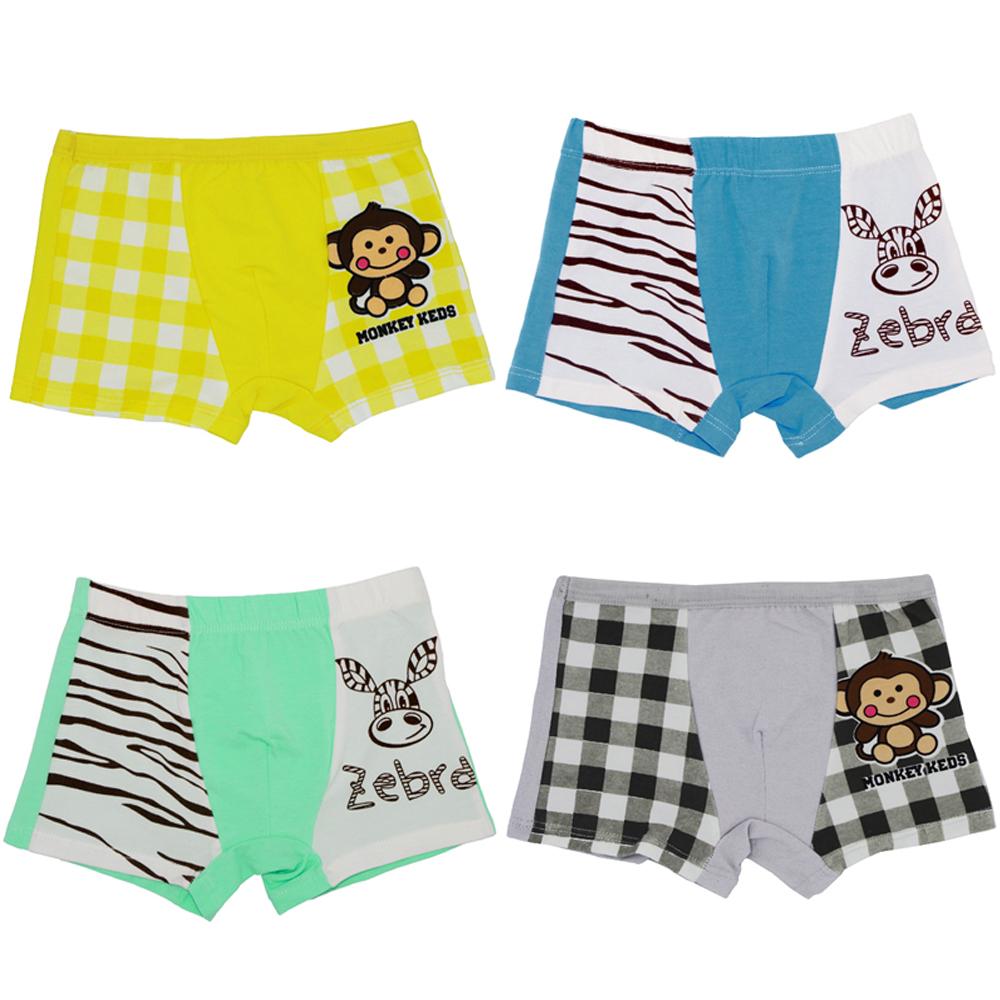 4Pcs/Pack Childrens Underwear Baby Boys Girls Boxer Underpants Kids Cartoon Panties 100% Cotton Infant Short Pants 1-16Y ...