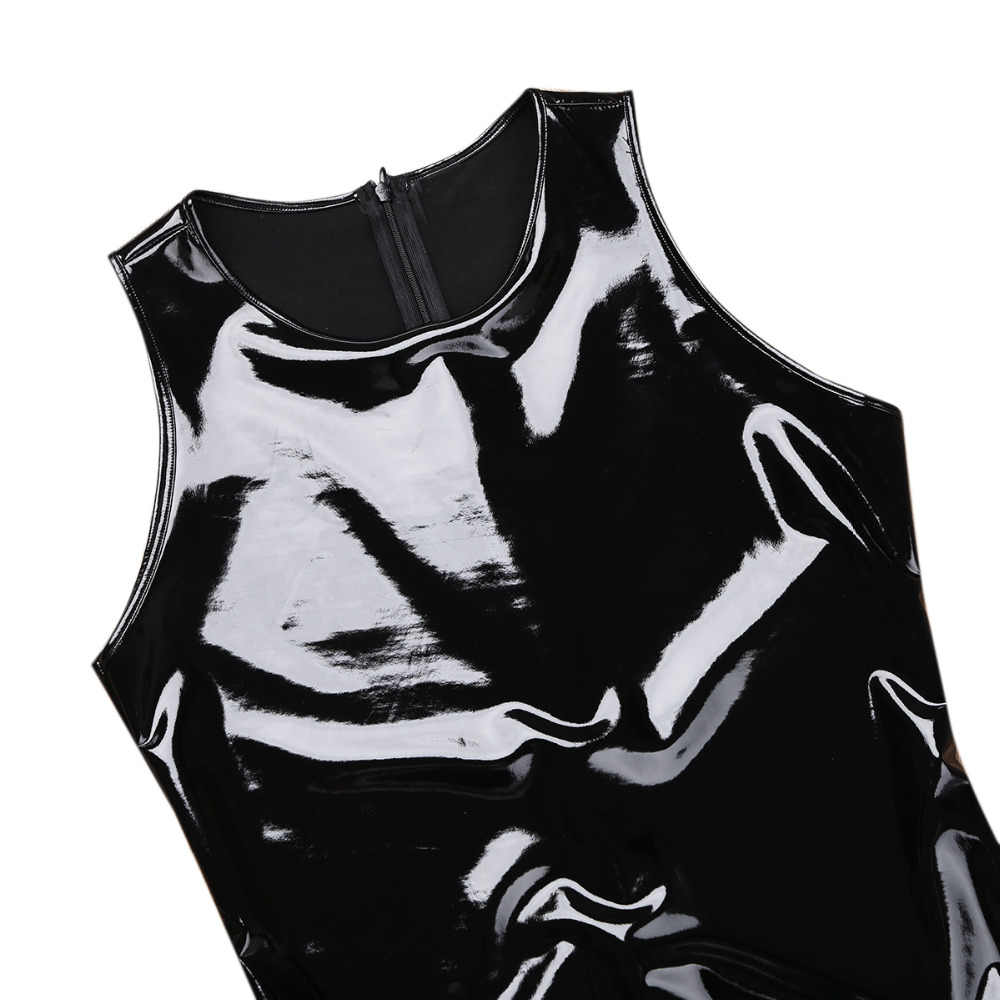 ... iiniim New Men Lingerie Catsuit Wetlook Patent Leather One-piece  Sleeveless Leotard Back with Zipper ...