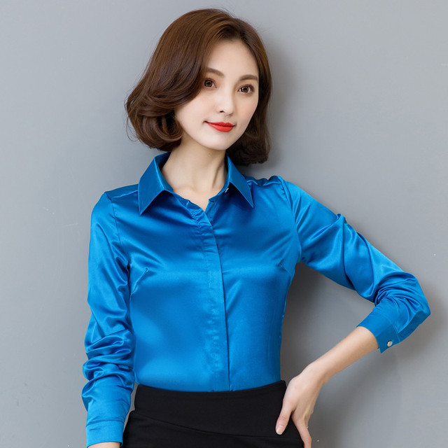 2018 Spring Autumn Fashion Chiffon Blouse Women Tops Excellent Quality Silk Button Women Shirt Korean Classic Female Chemise