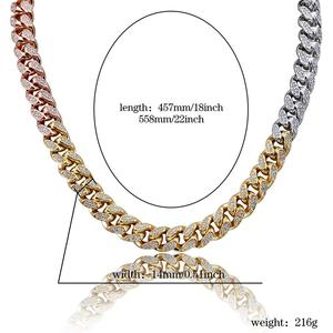 Image 5 - 14mm Hip Hop Mens Maimi Cuban Link Chain Necklace Silver Plated Gold Iced Out Cubic Zircon Bling Jewelry Necklaces Gifts