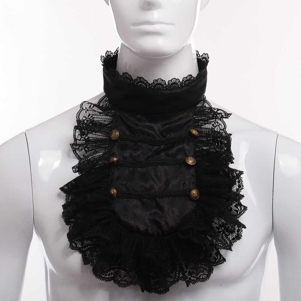 Baroque Prince Victorian Jabot Vintage Hand Made Steampunk Men Ruffle Black Lace Detachable Collar