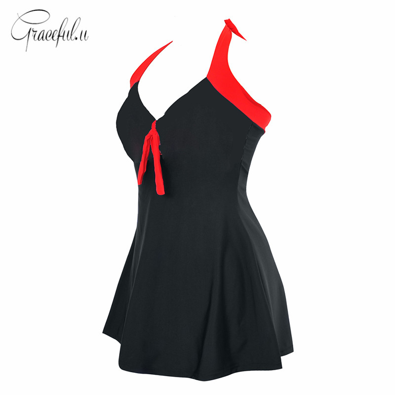 Swim Clothing Black One-piece Skirted Swimming Suits Red Strap Halter Padded Bathing Dress Maxi Plus Size M-4XL for Women Girl two by vince camuto new red blue drawstring women s size xl maxi dress $129