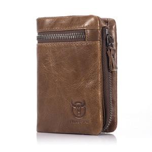 Image 2 - BULLCAPTAIN 2020 MEN Coffee Cow Leather Wallet Coin Pocket Money Purse Bag Card Holder Short Trifold Hasp Zipper Wallet