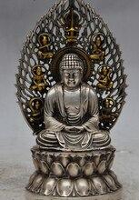 Plata de tíbet budismo fane Ancestro Buda sentado sakyamuni Tathagata estatua de loto