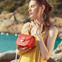 Alligator pattern women shoulder bag with metal chain mini messenger ladies bags simple design luxury genuine leather package все цены