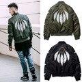 2017 Осень Зима High Street Новая Тенденция MA1 Куртка Мужчины Перо Печатных Бейсбол Равномерное Kanye West Куртка Пальто M-XL