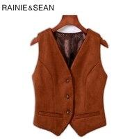 RAINIE SEAN Suede Vest Women Short Brown Slim Fit Waistcoat Vest Female Gilet V Neck Lace Spring Vintage Sleeveless Jacket Vest