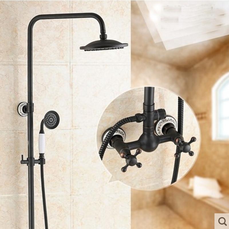 Oil Rubbed Bronze Ceramic Round Rain Shower Head Tub Spout W/ Hand Shower Mixer