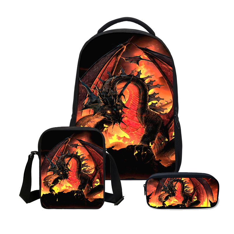 Veevanv 3d Printing Bookbag 3 Pcs/set School Bags Fashion Men's Backpacks Boys Canvas Backpack Cool Dragon Children Shoulder Bag
