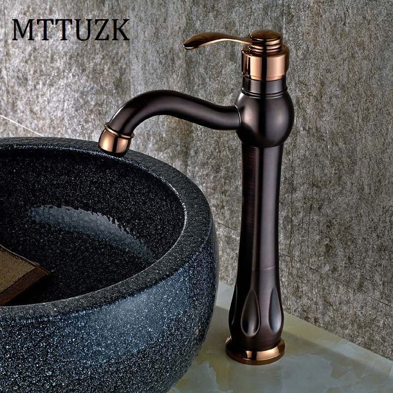 MTTUZK Free Shipping Tall Wash Basin Bathroom Oil Rubbed Bronze Deck Mounted Single Handle Sink Torneira Faucets Mixer TapMTTUZK Free Shipping Tall Wash Basin Bathroom Oil Rubbed Bronze Deck Mounted Single Handle Sink Torneira Faucets Mixer Tap