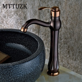 MTTUZK Free Shipping Tall Wash Basin Bathroom Oil Rubbed Bronze Deck Mounted Single Handle Sink Torneira Faucets Mixer Tap