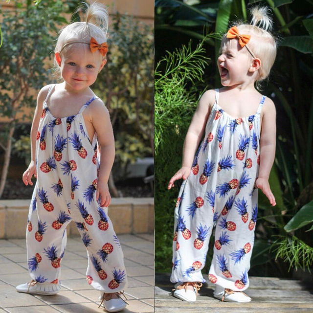 b50aba4d9089 Cute Baby Girls Romper Pineapple Print White Jumpsuit Spaghetti Strap Baby  Clothes Kids Child Newborn Outfit