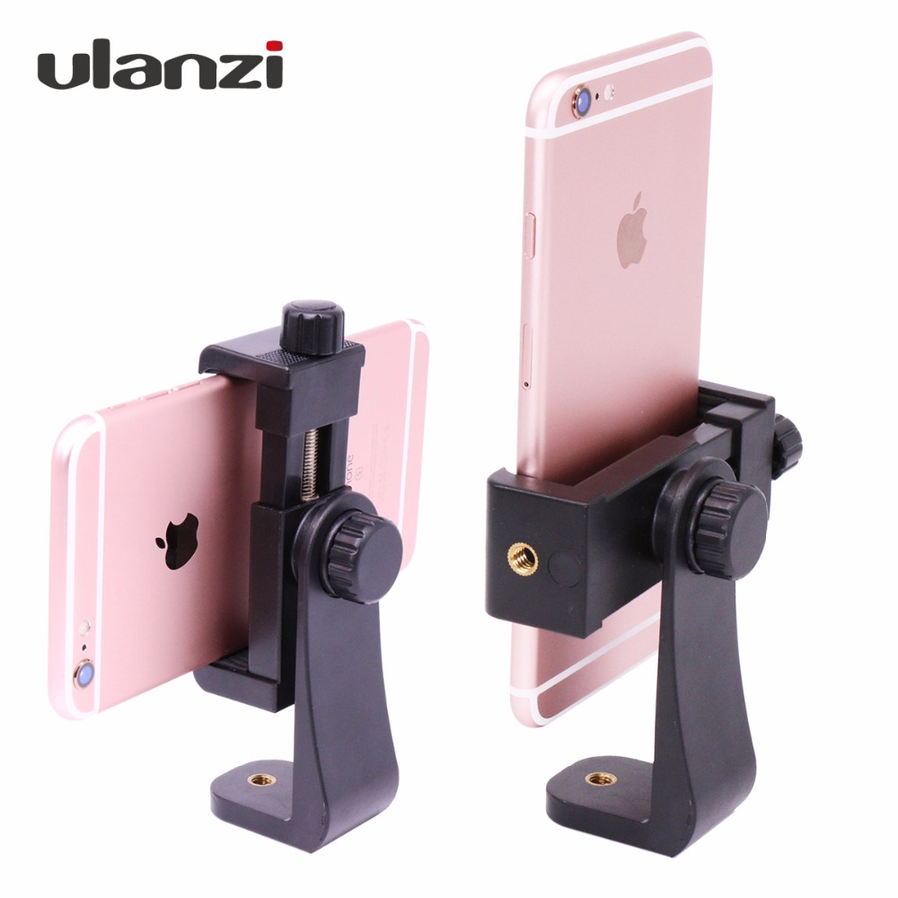 Ulanzi Universal Rotated Tripod Mount Holder Stand Bracket Clip Mount for iPhone Samsung Meizu Xiaomi Huawei სმარტფონის 3 ფერი