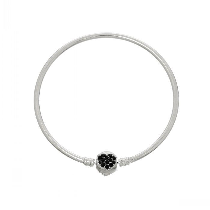 549544bb4a47 Doreenbeads cobre encanto europeo Brazaletes pulseras Tono de plata corazón  negro rhinestone 22 cm (8 5 8 )
