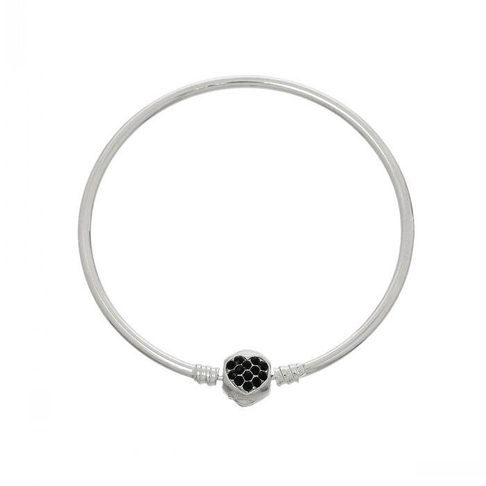 aaff4f2fbd4b Doreenbeads cobre encanto europeo Brazaletes pulseras Tono de plata corazón  negro rhinestone 22 cm (8 5 8 )