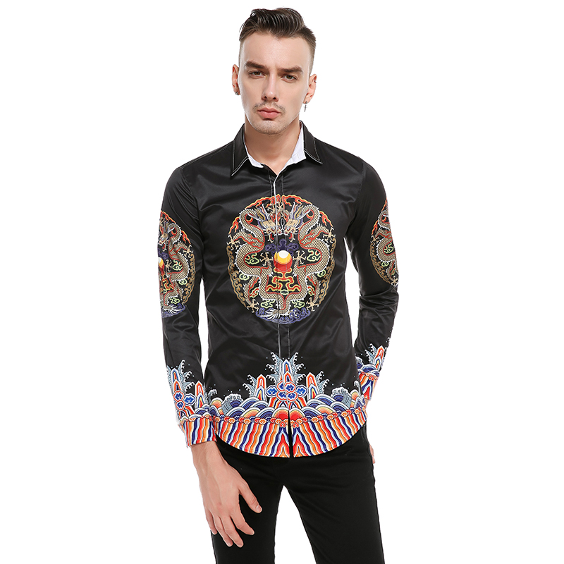 Black color casual shirt New male 3D stereo dragon robe printing Retro Symmetric men fashion long sleeved Shirt dress EU US size in Casual Shirts from Men 39 s Clothing
