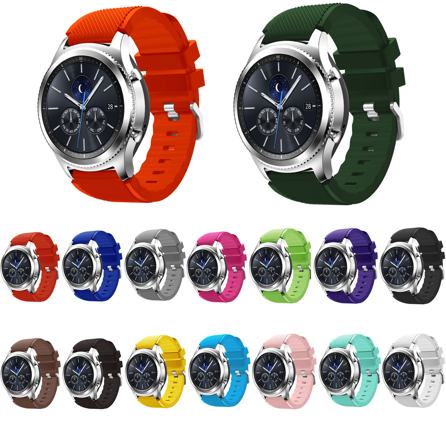 Galleria fotografica DAHASE Sweat Proof Strap for Samsung Gear S3 Frontier Silicone Watch Band for Gear S3 Classic Wristband with Quick Release Pins
