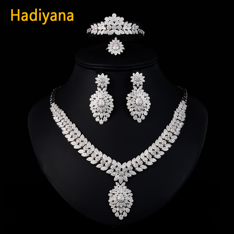 Hadiyana luxe Dubai or bijoux ensembles pour femmes élégant Zircon pavé mariée 4 pièces mariage ensembles accessoires livraison directe 2330 W