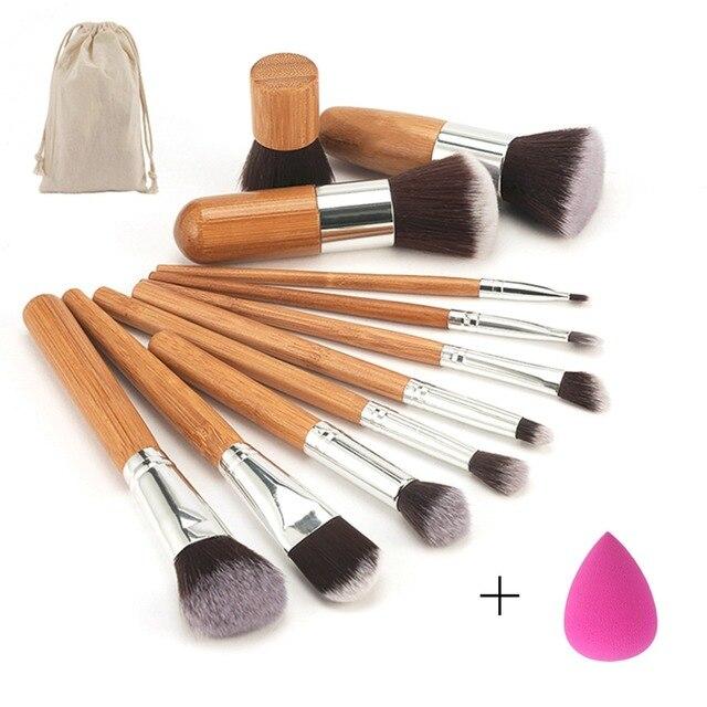 11 pçs/set Bamboo Handle Pincéis de Maquiagem Set Kit Sombra Concealer Blush Foundation Escova Com Blending Cosméticos Puff Esponjas