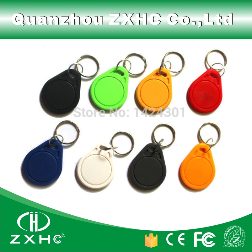 (100pcs/lot) 13.56MHz Keyfobs RFID Key Finder Card Tags Attendance Management IC M1 S50 Keychain ABS Keyfobs Waterproof