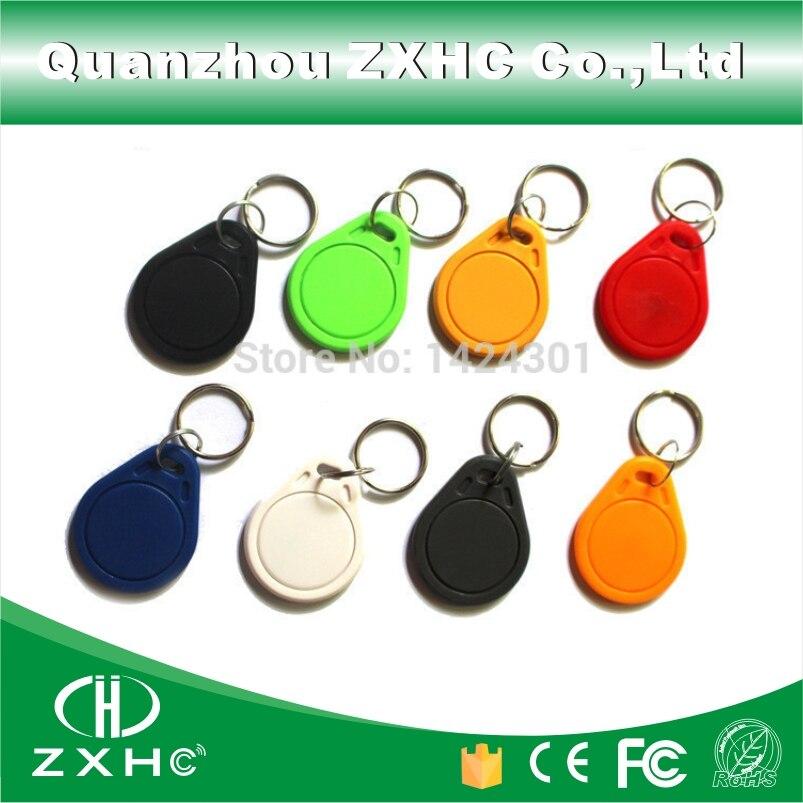 bilder für (100 teile/los) 13,56 MHz Keyfobs RFID Schlüsselsucher Karte Tags Teilnahme-management IC M1 S50 Keychain ABS Keyfobs wasserdicht